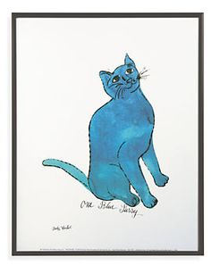 Poster Warhol, Untitled, 1954, (One Blue Pussy) Framed in Gunmetal - Warhol, Untitled, One Blue Pussy - Wall Art - Kids - Room & Board