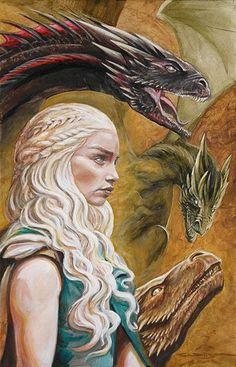 Mother of Dragons Queen Khaleesi Daenerys Targaryen C Wilson Art cwilsonart.com Dragons Drogon Rhaegal Viserion
