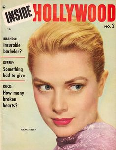 """Grace Kelly on the cover of """"Inside Hollywood"""", USA, #2, 1955."""