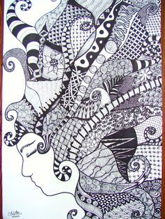 Zentangle Head - by Cory Burton Middle School Art Projects, Visual, Zentangle Animals, Zentangle, Art, Zentangle Patterns, Abstract Decor, Abstract, Pattern Art