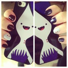 teenagetale:  Marceline nails and phone case!