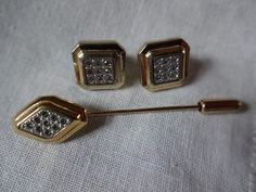 Vintage Avon Pave Stick Pin and Pierced Earrings Set | SelectionsBySusan - Jewelry on ArtFire