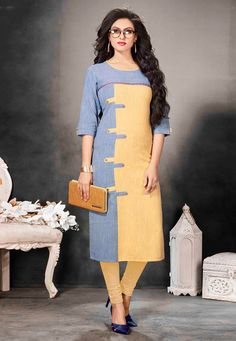 Capture the exuberance of womanhood in its full glory that will bring out your fragility and femininity. Make an adorable statement in this smashy blue and yellow cotton and khadi party wear kurti. Kurta Designs Women, Kurti Neck Designs, Salwar Designs, Blouse Designs, Indian Dresses, Indian Outfits, Fancy Kurti, Kurti Patterns, Bollywood Dress