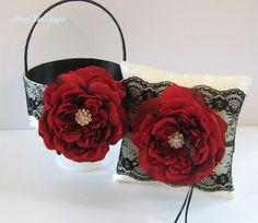 Wedding Ring Bearer Pillow Ring Pillow and by LaceyClaireDesigns, $94.00