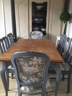 I dont care for the shade of brown on the table top but love the grey and the fabric! French Blue Shabby Chic Dining Table And Chairs Toile Fabric in Home, Furniture & DIY, Furniture, Table & Chair Sets Diy Furniture Table, Shabby Chic Furniture, Furniture Makeover, Home Furniture, Furniture Layout, Furniture Placement, Retro Furniture, French Furniture, Upcycled Furniture