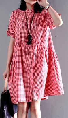 cotton dress. Pink summer plus size dresses short sleeve shift dress casual style