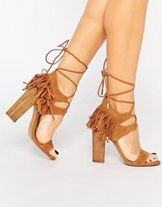 Kendall & Kylie Aries Nappa Leather Fine Fringed Heeled Sandals
