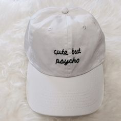Cute But Psycho Baseball Cap Brand new! Same baseball cap/hat used as Brandy Melville Can do it on a navy, black, white, or light pink hat. Able to do cust0m orders but please contact me so I can see how simple/complex it is. Tags: brandy melville, john galt, american apparel, zara, urban outfitters, anthropology, h&m, forever 21, nordstrom, topshop Brandy Melville Accessories Hats