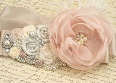 Bridal Sash - Sash in Blush Pink, Ivory, Champagne and Cream with Crystal Jewels, Ostrich Feathers and Handmade Flowers- Breath of Blush Wedding Sash, Bridal Sash, Dream Wedding, Blush Bridal, Bridal Belts, Wedding Dresses, Bridesmaid Dresses, Cream Blush, Blush Pink