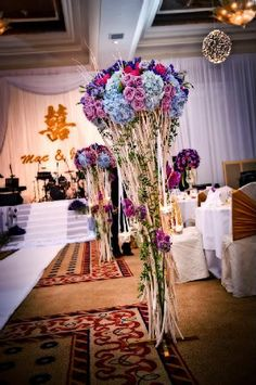 Beautiful blue and purple perimeter arrangements