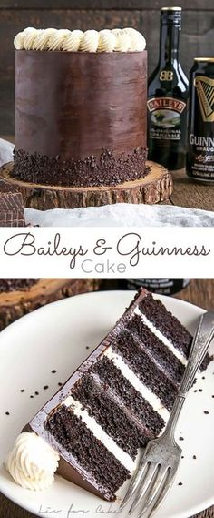 Baileys & Guinness Cake! A rich chocolate cake infused with Guinness paired with a Baileys dark chocolate ganache and a Baileys buttercream. | livforcake.com Chocolate Recipes, Chocolate Pudding, Chocolate Guinness Cake, Dark Chocolate Cakes, Chocolate Pavlova, Chocolate Cream, Chocolate Swiss Meringue Buttercream, Chocolate Cake Frosting, Media Marketing
