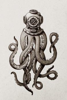 Dot & Bo - Furniture and decoration for the modern lifestyle - Octopus Diver Kunstdru . - Dot & Bo – Furniture and decoration for the modern lifestyle – Octopus Diver Art Print – - Octopus Tattoos, Squid Tattoo, Kraken Tattoo, Kraken Art, Trident Tattoo, Sea Tattoo, Theme Tattoo, Desenho Tattoo, Tatoo Art