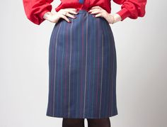 vintage 1980s navy blue with multicolored rainbow pinstripes pencil skirt by inpasttimes on etsy