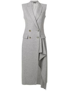 Alexander Mcqueen Asymmetric Double Breasted Coat In Light Grey Alexander Mcqueen, Ärmelloser Mantel, Long Grey Coat, Gray Coat, Dress Outfits, Fashion Dresses, Women's Fashion, Asymmetrical Coat, Sleeveless Coat
