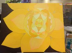 """Yellow Flower 18x24"""" Acrylic and glue on canvas"""