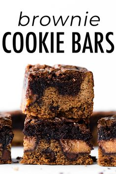 These cookie brownie bars combine chocolate chip cookies, homemade brownies, and peanut butter cups all in one. A chocolate lover's dream dessert! Chocolate Chip Cookie Brownies, Crispy Chocolate Chip Cookies, No Bake Chocolate Cheesecake, Cookie Brownie Bars, Fudgy Brownies, Peanut Butter Cups, Brownie Recipes, Cookie Recipes, Bar Recipes