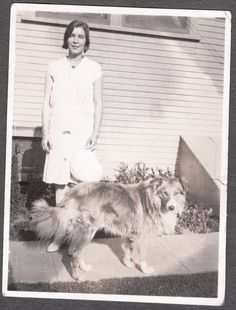 1940's LADY & COLLIE DOG