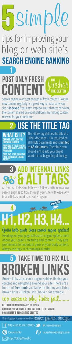 Infographic on how to improve your SEO in 5 steps, by @Louise Cote Cote Franks