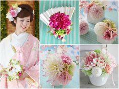 淡い色合いが春らしい優しい印象の会場装花。 和風のアレンジといえば紅白などが人気ですが、こんなパステルカラーでも素敵です。 まんまるのピンポンマムやポンポン咲きのダリアを使うと、かわいらしいイメージになります。 ◆ ◆ kukka design ◆◆ 東京・三軒茶屋にあるウェディングフラワーのオーダーメイドアトリエ www.kukka-flowers.com
