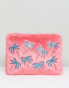 Skinnydip Faux Fur Pouch With Palm Tree Applique