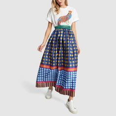 If you want to go all in on the gingham trend, then stop right here. Done in an impactful palette that's fitting any time of year, this maxi skirt plays well. Plaid Outfits, Skirt Outfits, Stylish Outfits, Quirky Fashion, Boho Fashion, Fashion Outfits, Womens Fashion, Colourful Outfits, Gingham