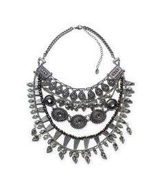 Spike layered necklace from Zara Stone Necklace, Stone Jewelry, Boho Jewelry, Wedding Jewelry, Women Jewelry, Colar Fashion, Fashion Necklace, Fashion Jewelry, Costume Necklaces