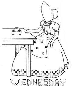 Embroidery Pattern RARE Days of The Week Sunbonnet S | eBay