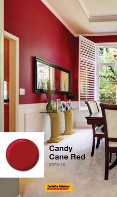 Rich reds like Candy Cane Red by Benjamin Moore can add a pop in the most unexpected places like your dining room! Red Paint Colors, Dining Room Paint Colors, Paint Your House, House Paint Interior, Other Rooms, Benjamin Moore, House Painting, Candy Cane, Room Decor