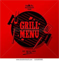 Grill Menu Card Design template. - stock vector
