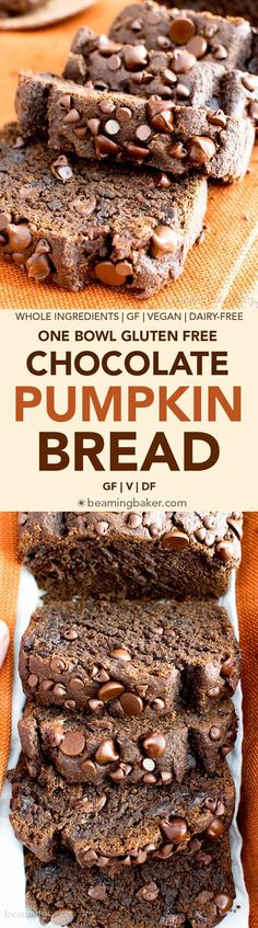 Gluten Free Vegan Chocolate Pumpkin Bread (V, GF): a one bowl recipe for perfectly moist 'n decadent chocolate pumpkin bread made with warm spices and your favorite fall flavors. #GlutenFree #Vegan #DairyFree #RefinedSugarFree #Healthy #AllergyFriendly | BeamingBaker.com
