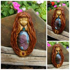 Labradorite Mahalia goddess crystal clay goddess pendant handcrafted by Wakee's Wares on facebook. ☺  ✌