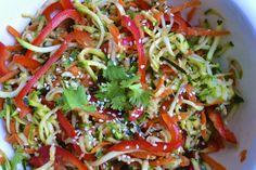 Raw Zucchini Salad with Sesame Ginger Sauce