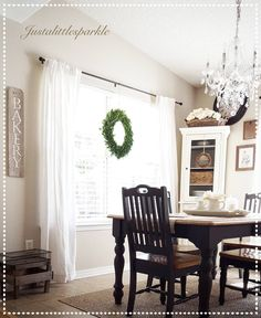 Dining room, farmhouse, sign, chandelier