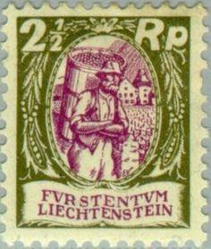 Sello: Wine-grower (Liechtenstein) (Wine-growers and Vaduz castle) Mi:LI 65,Yt:LI 63,Zum:LI 64