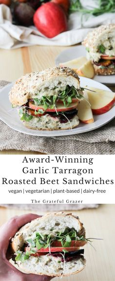 #ad Award-Winning Garlic Tarragon Apple Roasted Beet Sandwiches! This recipe proves that you can make a delicious vegan sandwich! Plant-based/vegetarian recipe! via @gratefulgrazer