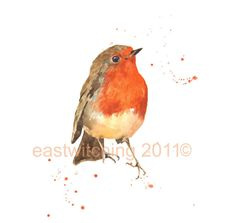 Robin, robin painting, Watercolor ROBIN Print, bird spotter gift via Etsy