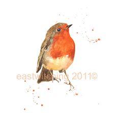 Robin, robin painting, Watercolor ROBIN Print, bird spotter gift via Etsy