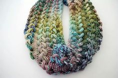 Ravelry: Braided Hairpin Lace Infinity Scarf pattern by B.hooked Crochet --Hairpin lace is what Grandpa Con made into afghans when he was bed ridden Crochet Lace Scarf, Hairpin Lace Crochet, Crochet Scarves, Free Crochet, Knit Crochet, Scarf Knit, Crochet Edgings, Tunisian Crochet, Crochet Granny