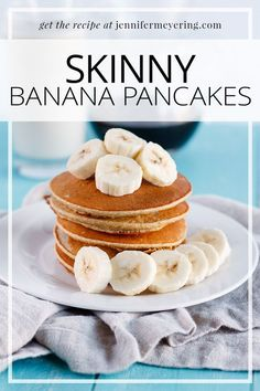Sweet and delicious banana pancakes lightened up with egg whites and old fashioned oats so you can enjoy without any guilt!