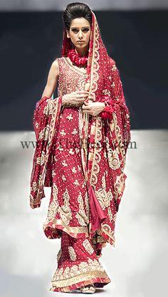 BW7441 Deep Carmine Crinkle Chiffon sharara Pakistani Wedding Lenghas, Bollywood Wedding Lenghas, Pakistan Bridal Fashion, Paki Lehnga Outfit Bridal Wear
