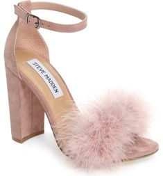 Pink Suede & Fur Pouf Block Heeled Ankle Strap Sandal - Steve Madden Carabu Sandal (Women)| Best Prom 2017 Shoes for every dress