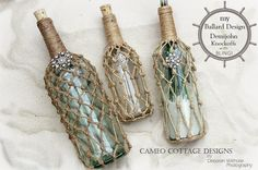 DIY Knotted Jute Net Demijohns or Bottles Tutorial by Cameo Cottage Designs