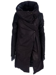 Black calf leather coat from Isaac Sellam Experience featuring an oversized funnel neck to be worn open, double fabric sleeves and a metal pin front fastening.
