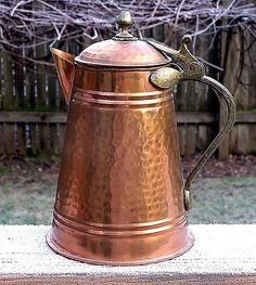 Antique Vintage Large Solid Copper Coffee Pot Tandard Pitcher Made ...