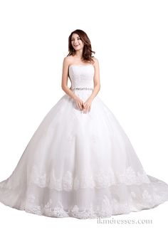 Lace Strapless Ball Gowns Bridal Wedding Dresses http://www.ikmdresses.com/Lace-Strapless-Ball-Gowns-Bridal-Wedding-Dresses-p88066