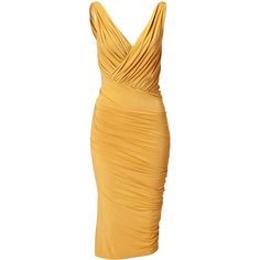 DONNA KARAN Butterscotch Twist Draped Dress ($538) ❤ liked on Polyvore featuring dresses, vestidos, yellow, short dresses, yellow dress, v neck mini dress, short yellow dress, fitted mini dress and sleeveless dress