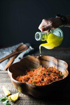 Moroccan Spiced Carrot Salad - Paleo and vegan Vegetarian Recipes, Cooking Recipes, Healthy Recipes, Moroccan Carrots, Morrocan Food, A Food, Food And Drink, Carrot Salad, Food Processor Recipes