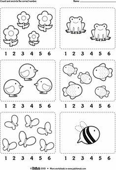 Worksheet: Count and encircle the correct number. // Ficha para…Counting Worksheet: Count and encircle the correct number. Teaching Numbers, Numbers Preschool, Preschool Learning, Preschool Crafts, Kindergarten Math Worksheets, Preschool Activities, Nursery Worksheets, Math For Kids, Kids Education
