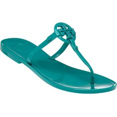 TORY BURCH Colori Jelly Turquoise Reef Sandal ($61) ❤ liked on Polyvore featuring shoes, sandals, teal, slip on shoes, teal green shoes, teal sandals, turquoise shoes and jellies shoes