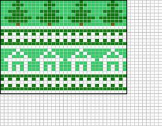 This pattern contains a tree chart and a house chart with a cute picket fence peerie.